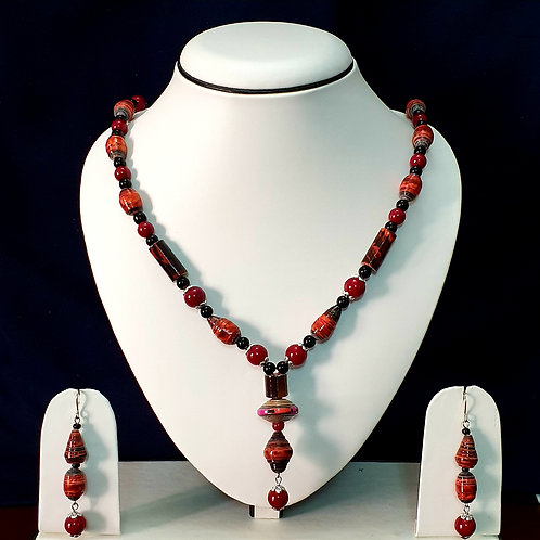 Cherry Red Medium Set with Matching Drop Earrings