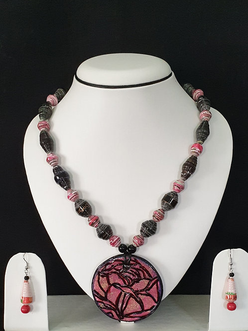 Rose Pendant Set with Pink Drop Earrings