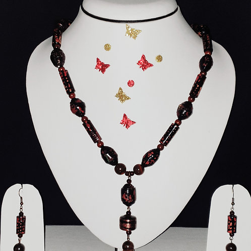 Neck piece set of red and black beads and pendant with matching ear rings