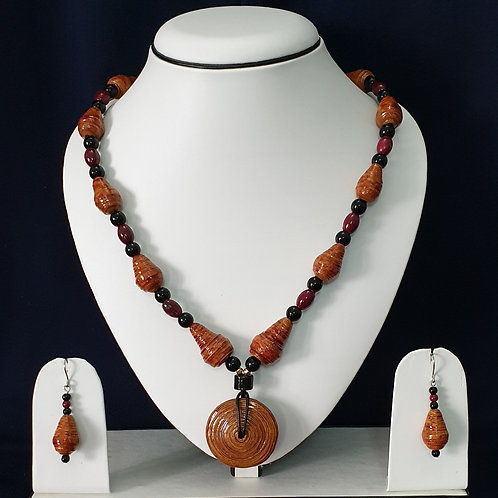Brown Toned Set with Disk Pendant