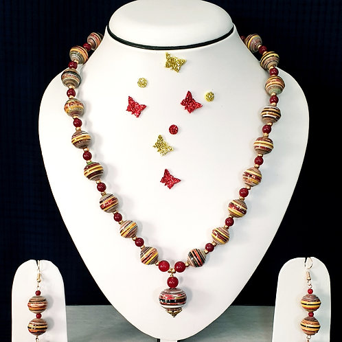 Neck piece set of red and yellow round beads  with matching ear rings