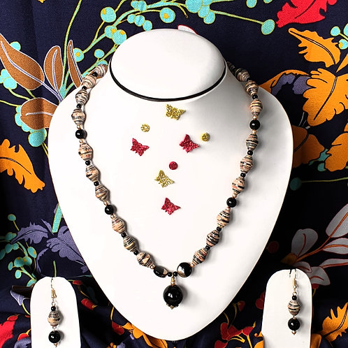 Neck piece set of brown and black beads with matching ear rings