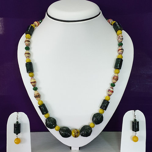 Dark Green and Lime Beads Set with Matching Earrings