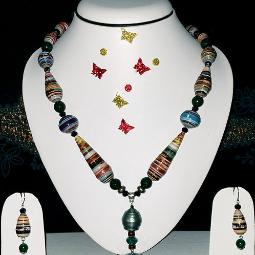 Neck piece set of multicolour cone beads with matching ear rings