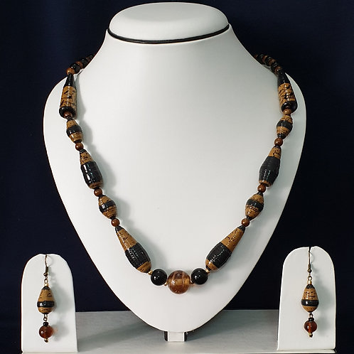 Brown & Black Conical Beads Set with Drop Earrings