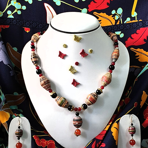 Neck piece set of brown, black and red beads with drop ear rings