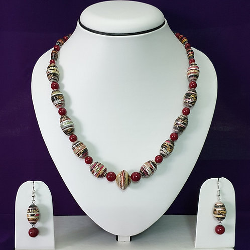Cherry Red Overtones Short Set with Matching Earrings