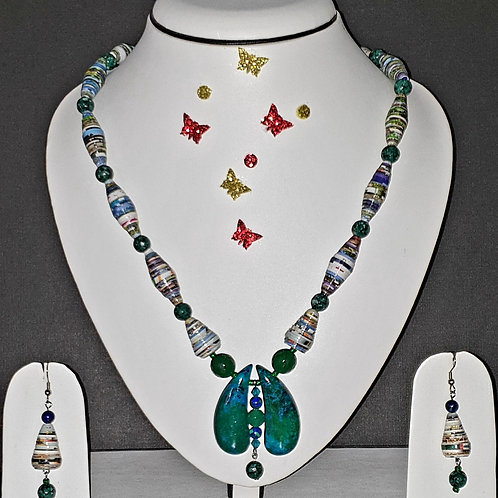 Neck piece set of multicolour beads and jade pendant with matching ear rings