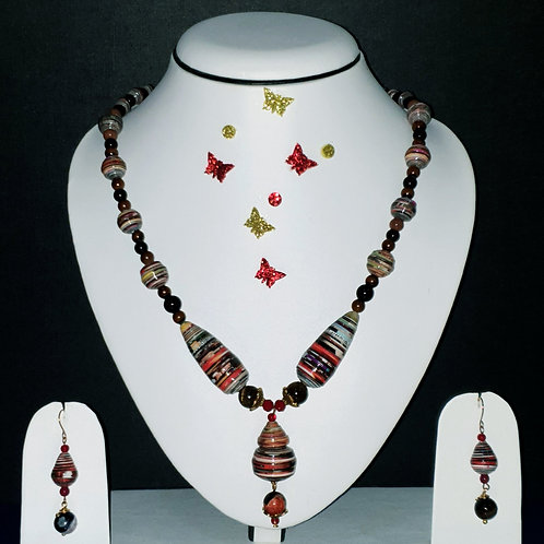 Neck piece set of multicolour beads and drop pendant with matching ear rings
