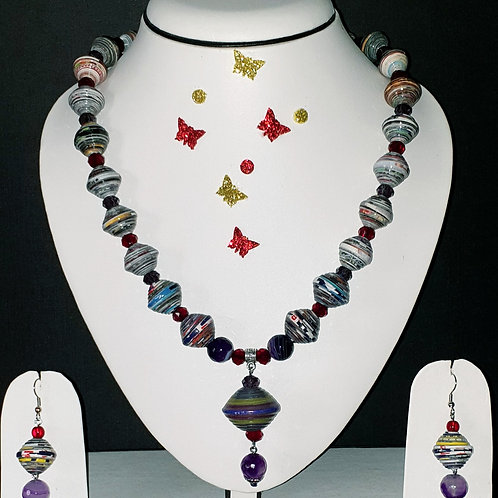 Neck piece set of multicolour round beeds and pendant with matching ear rings