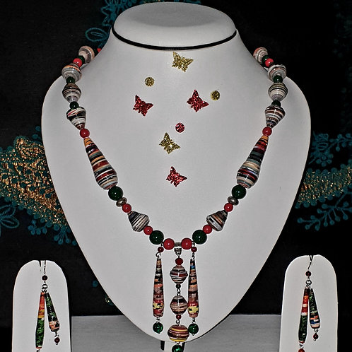Neck piece set of multicolour beads and triple pendant with matching ear rings