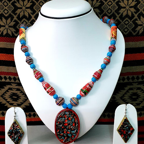 Blue & Red Set with Oval Pendant & Diamond Earrings