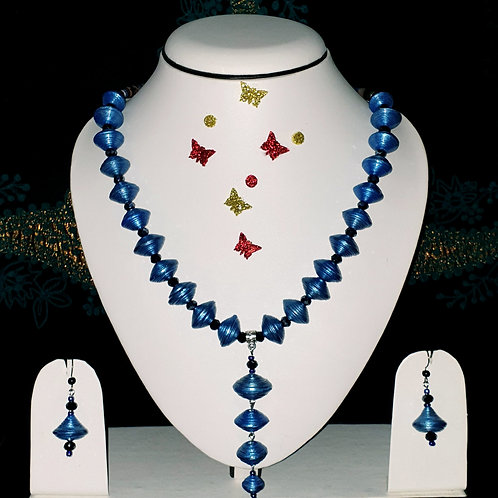 Neck piece set of disk design blue beads with matching ear rings