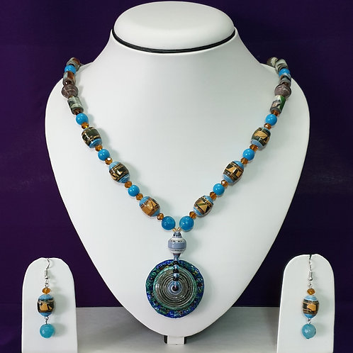 Sky Blue Set with Large Disk Pendant and Matching Earrings