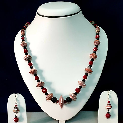 Dark Red Toned Disk Beads Medium Set with Drop Earrings