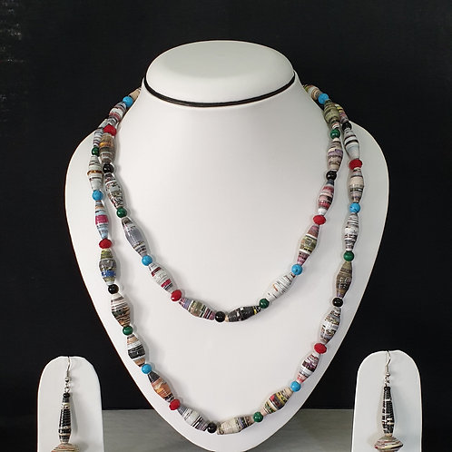 Two layer Set of Oval Shaped Beads & Multi colour Spacer Beads
