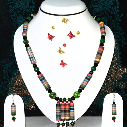Neck piece set of multicolour cylinder beads and pendant with matching ear rings