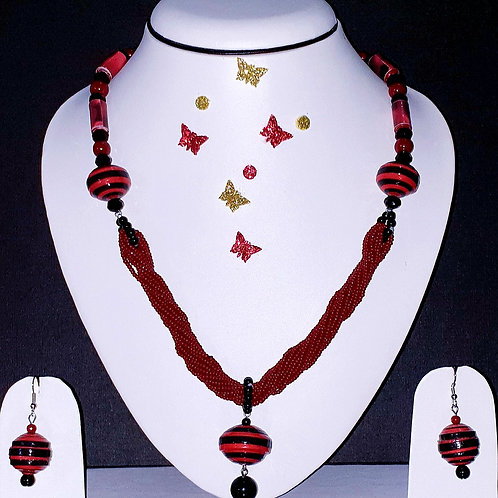 Neck piece set of rope design red beads with matching ear rings