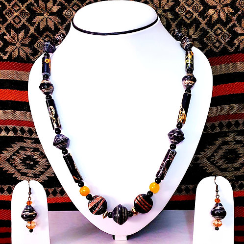 Long Beads Set with Mustard Yellow Bead Spacers
