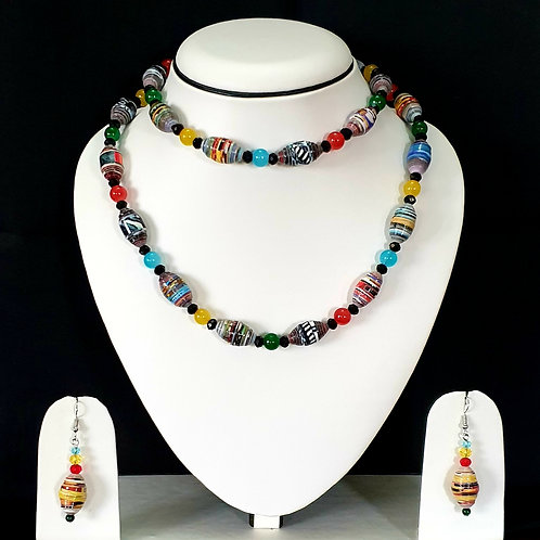 Multi Colored Two Layered Set with Matching Earrings