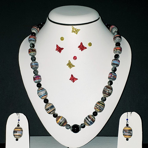 Neck piece set of multi colour oval beads with matching ear rings