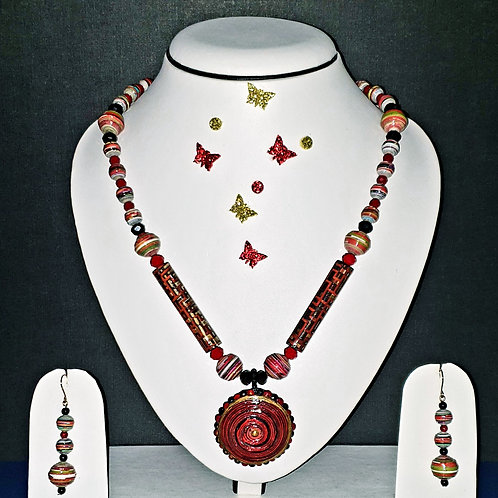 Neck piece set of multi design beads  and disk pendant with matching ear rings
