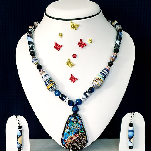 Neck piece set of blue beads with large pendant and matching ear rings