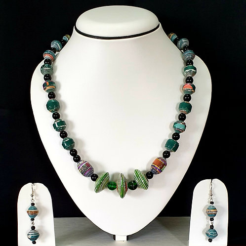 Green Shades Medium Set with Cylindrical Beads