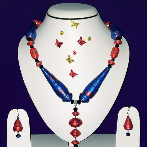 Neck piece set of large blue cone beads and red multi design beads