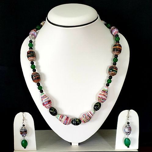 Emerald Green Overtones with Cylindrical Beads Short Set