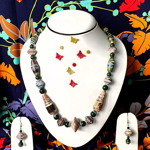 Neck piece set of multicolour beads and black spacers with matching ear rings