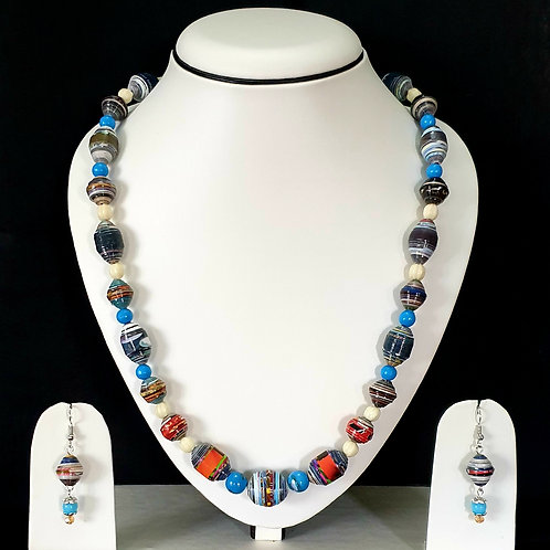 Blue Shaded Multi Colored Beads Set