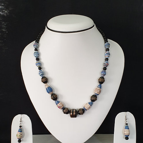 Set of Black and Blue beads with Golden Hues and Drop Earrings