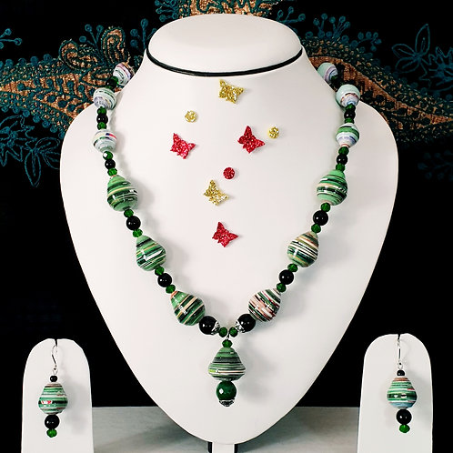 Neck piece set of green beads with matching ear rings