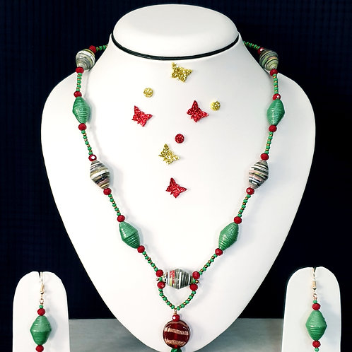 Neck piece set of highlighted green beads with matching ear rings
