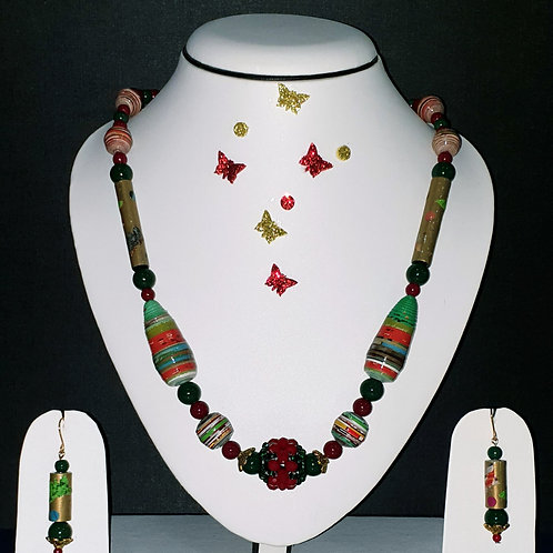 Neck piece set of green beads and red ball pendant with matching ear rings
