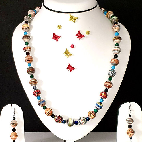 Neck piece set of multicolour round beeds  with matching ear rings