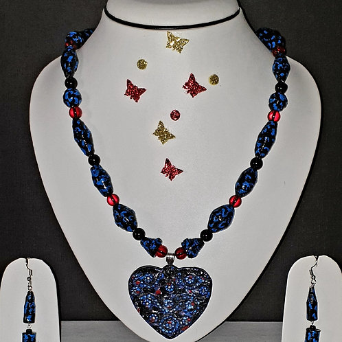 Neck piece set of blue beads and heart pendant with matching ear rings