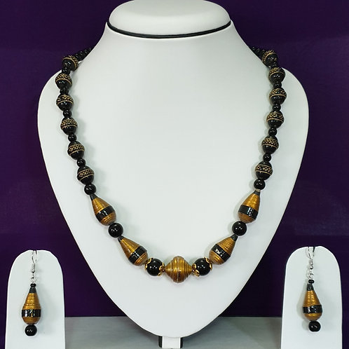 Black & Gold Short Set with Conical Beads