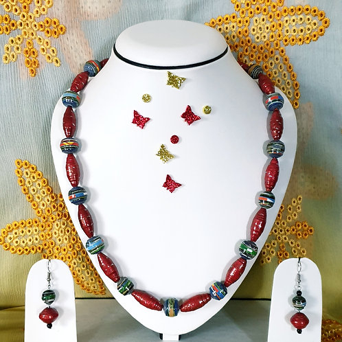 Neck piece set of red long beads and drop ear rings