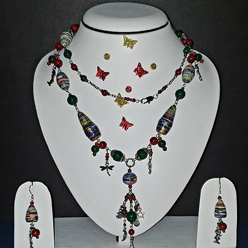 Neck piece set of multicolour beads and hangings with matching ear rings