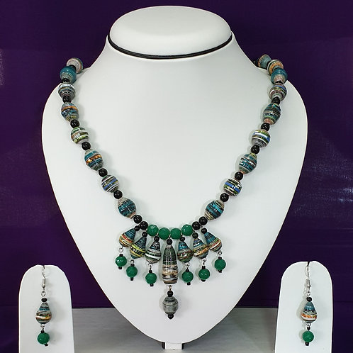 Moss Green Set with Multi Beads Pendant