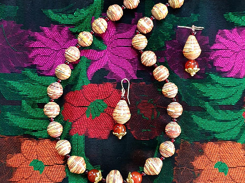 Neck piece set of light brown beads with mathing ear rings