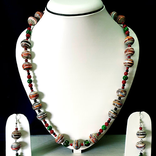Long Alternating Beads Set with Double Earrings