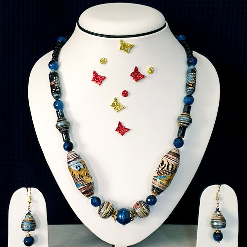 Neck piece set of mix pattern beads  with matching ear rings