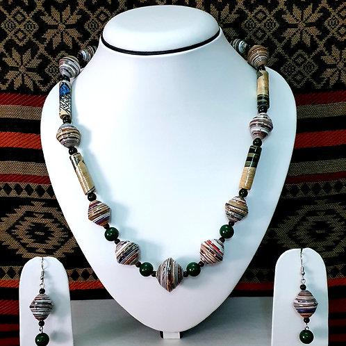 Long Beads & Disk Beads Medium Set with Drop earrings