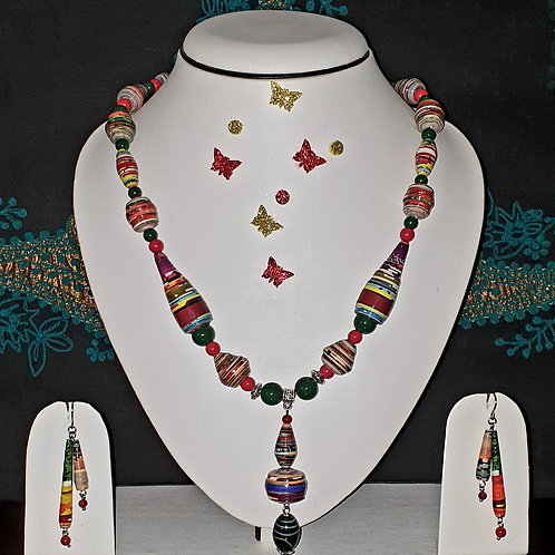 Neck piece set of red prominent multicolour beads with matching ear rings
