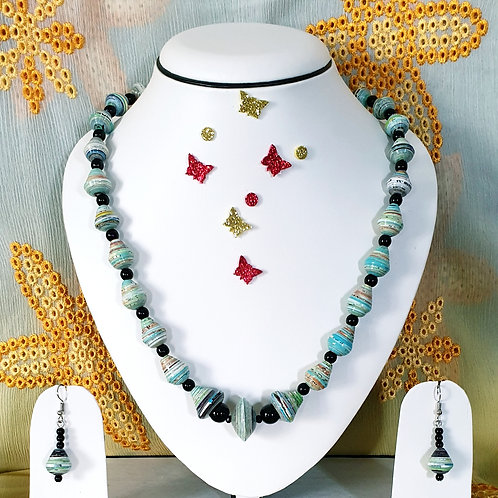 Neck piece set of light blue beads with matching ear rings