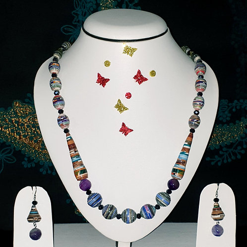 Neck piece set of multi design multicolour beads  with matching ear rings
