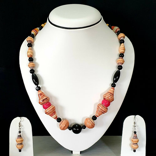 Peach & Black Set with Matching Earrings
